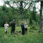 Даша и Ко на краю ур. Веретье в 2006 году.