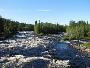 Река Тунтсайоки, вид с пешеходного моста.