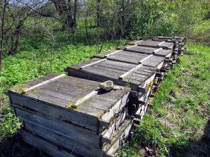 Брошенные деревянные ящики с геологическими образцами.